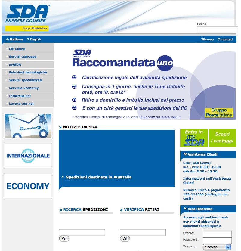 Come ricercare una spedizione con corriere espresso SDA  vadimoda.com
